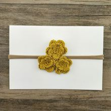 Baby handmade wool knit crochet headband knit yellow color flower headband