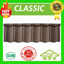 Aluzinc Stone coated roofing tiles/Noise resistent stone coated metal roofing