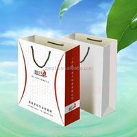 paper gift bags with ribbon handles/ oem production shopping paper bag/ elegant luxury paper bag