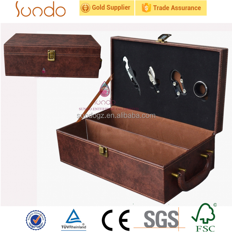 unique leather double wine carrier wholesale