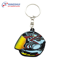 Metal ring attached keychain safety helmet pvc keychain pvc keychain
