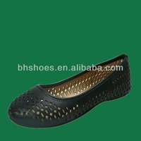 BHS095738 Hot selling laser cutting cheap women black PU flat shoes