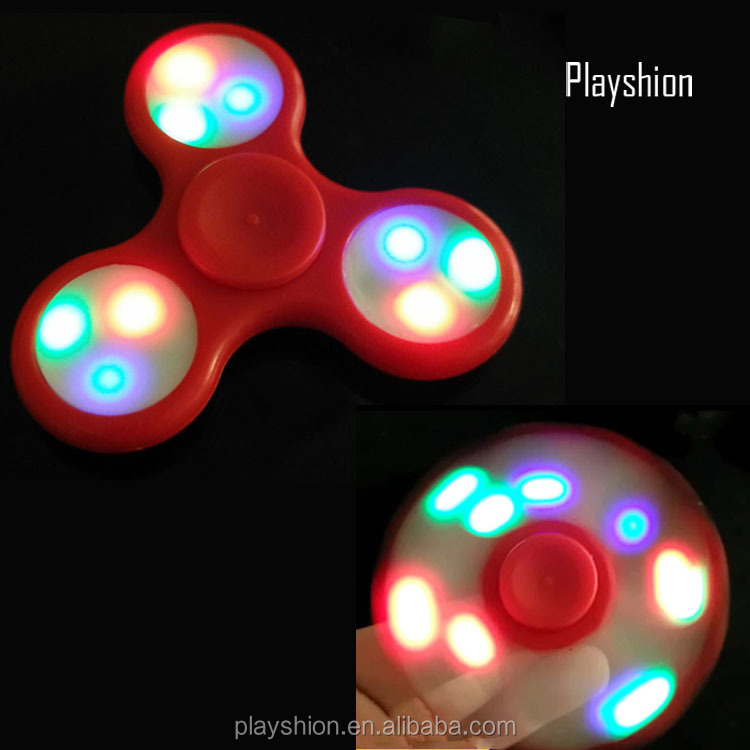 LED Light new anti-stress toys LED tri spinner Fidget Hand Spinner for kids and adult
