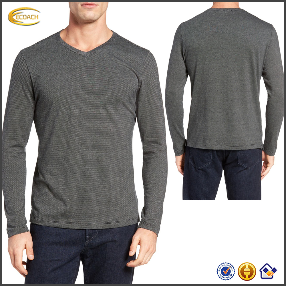 Ecoach 2016 High Quality Wholesale Factory Price Long Sleeve 100% Pima Cotton V-Neck Sportswear Mens T-Shirt