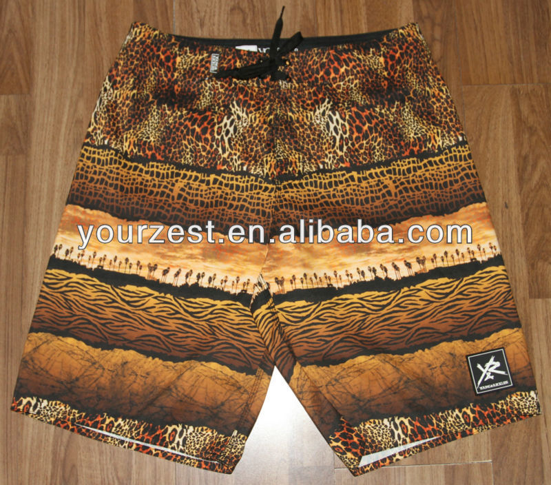 2014 SPRING NEW FASHION MEN'S BEACH LEOPARD PRINTED BOARD SHORTS