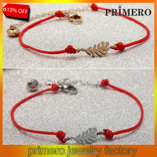 Stainless steel Titanium Steel rose gold Gorgeous 100% Brand red rope red string Feather bracelet