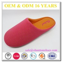 Promation dot printed jersey woman indoor slippers,cheap wholesale slippers/clog, lady bedroom slipper