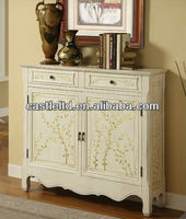 CF30122 Painted Two Door Console in Distressed White / French-style Cupboard Console Sideboard