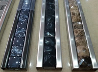 3.2x60cm 304 stainless steel mix 13 mirror natural stone mosaic border