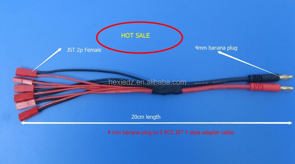 4mm banana plug to JST Y style adapter cable for RC hobby