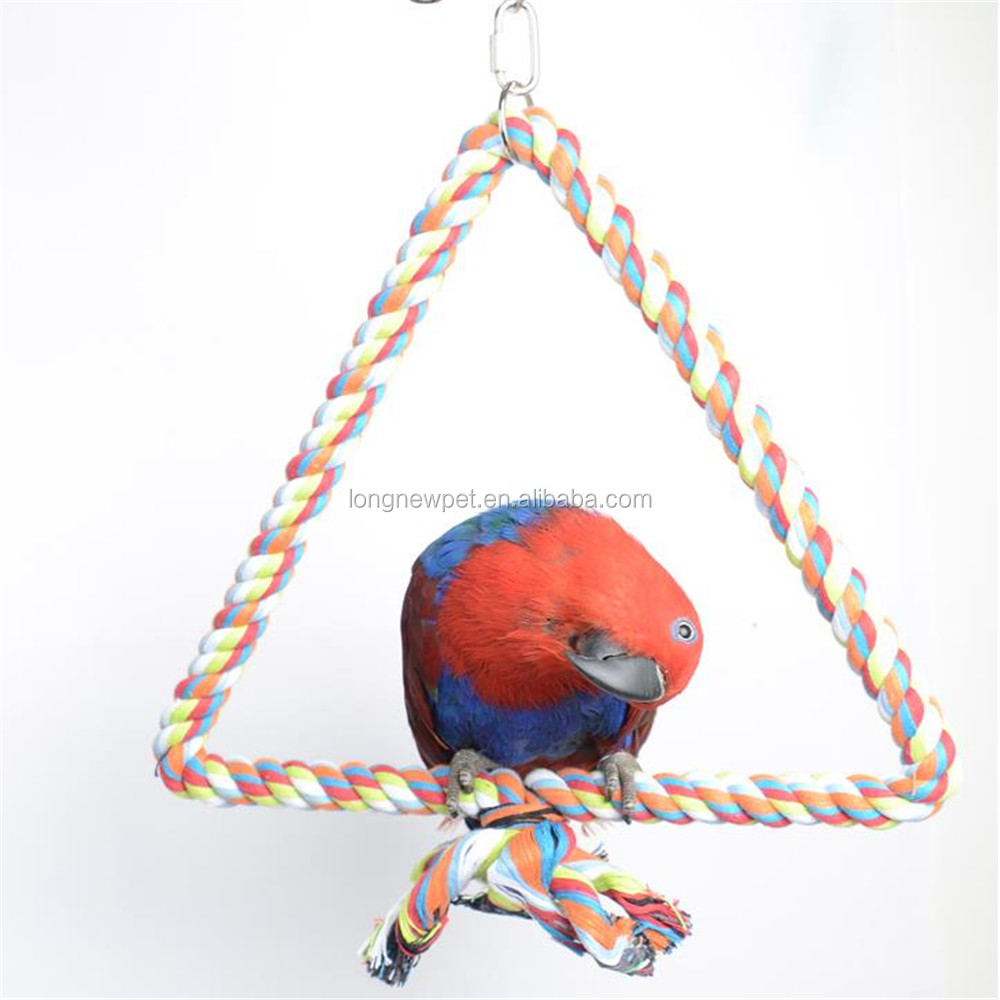 Large Parrot Toy Bird Bite Toy Stop Bar Cotton Triangle Perch Standing Rope Climbing Toy For Big Parrot