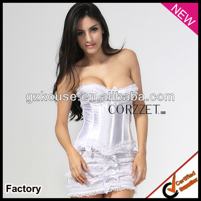 white bridal bustier plus size corset with mini dress