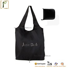 Popwide nylon polyester wholesale cheap portable eco-friendly promotion foldable reusable waterproof shopping tote bag
