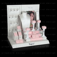 display stand cute pink high quality sew technoligy silver pu leather jewelry display