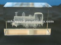 Engraved Steam Train 3D laser Crystal Block MH-F0214