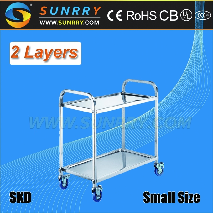 Multifunctional Stainless Steel Two-Layers Food Service Carts With Wheels And Dining Cart