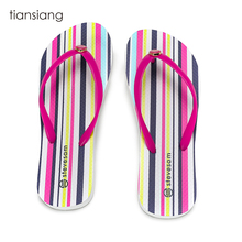 Beautiful Jelly color popular rainbow prints rubber casual women flip flop sandals