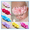Hot selling infant toddlers baby Triple rhinestone beaded chiffon flower headbands