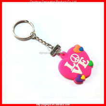 Pink LOVE and PEACE soft PVC key chain for best friends (MYD-CH2208)