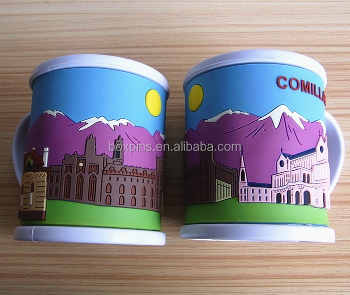 3D scenery PVC/plastic/Rubber mug/drinking cups for Comilla souvenir