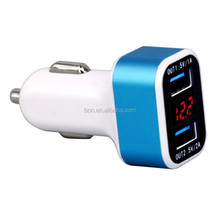 Alibaba Hot!! 5V 3.1A Charger Fast Universal LCD Dual USB Car Charger for mobile phone