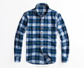 Custom made Flannel check mens long sleeves chest pockets slim fitting shirts