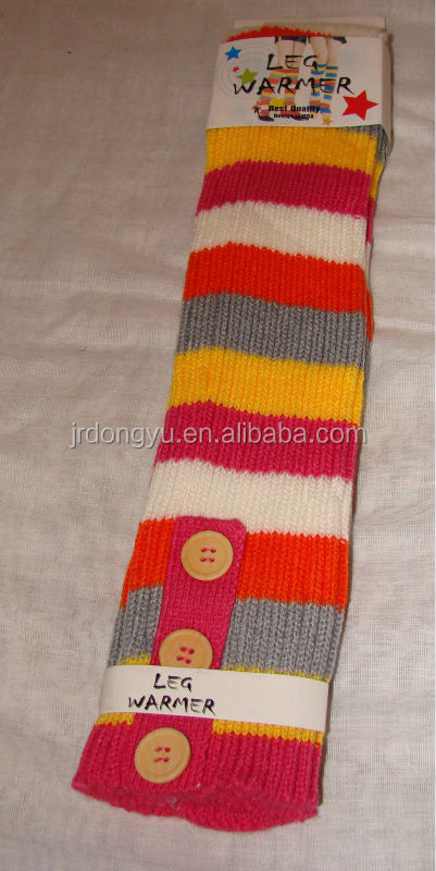 women knitted stripe leg warmer with button