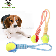 Pet Rope Knot Toys With Ball For Dog Interactive Play Clean Teeth Hand Pull Dog Toy