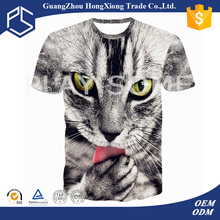 2016 cool design retail comfortable t-shirts with 3d animal print