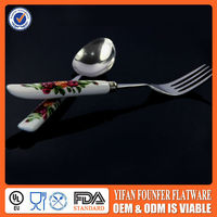 Ceramic handle cutlery set spoon and fork uk