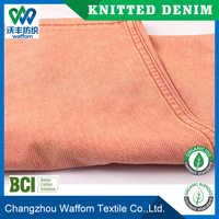 china orange spandex cotton terry knitted denim fabric for jeans