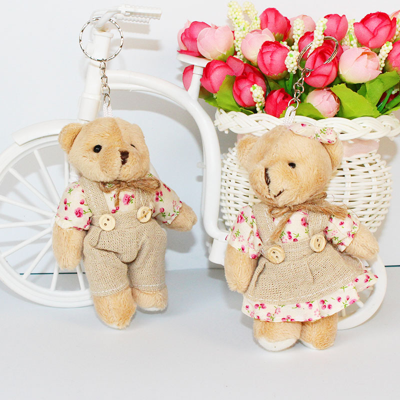 For Christmas Gift 12CM 2pcs/lot pp cotton kid toys plush doll mini small teddy bear flower bouquets bear for wedding