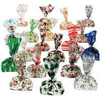 China Supplier Cellophane Candy Cane Cookie Bags Pouch Wrap With A Drawstring Closure