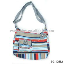 2011 latest fancy tredy striped nice school bags with adjustable shoulder