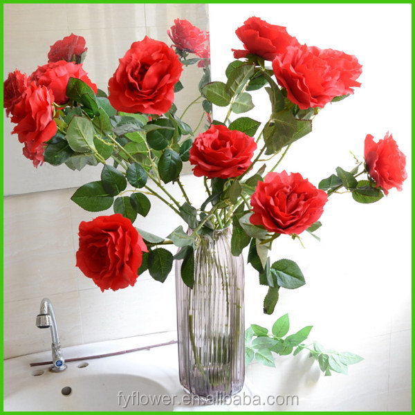 Top level new arrival wholesale single stem big red rose artificial flowers for wedding decoration
