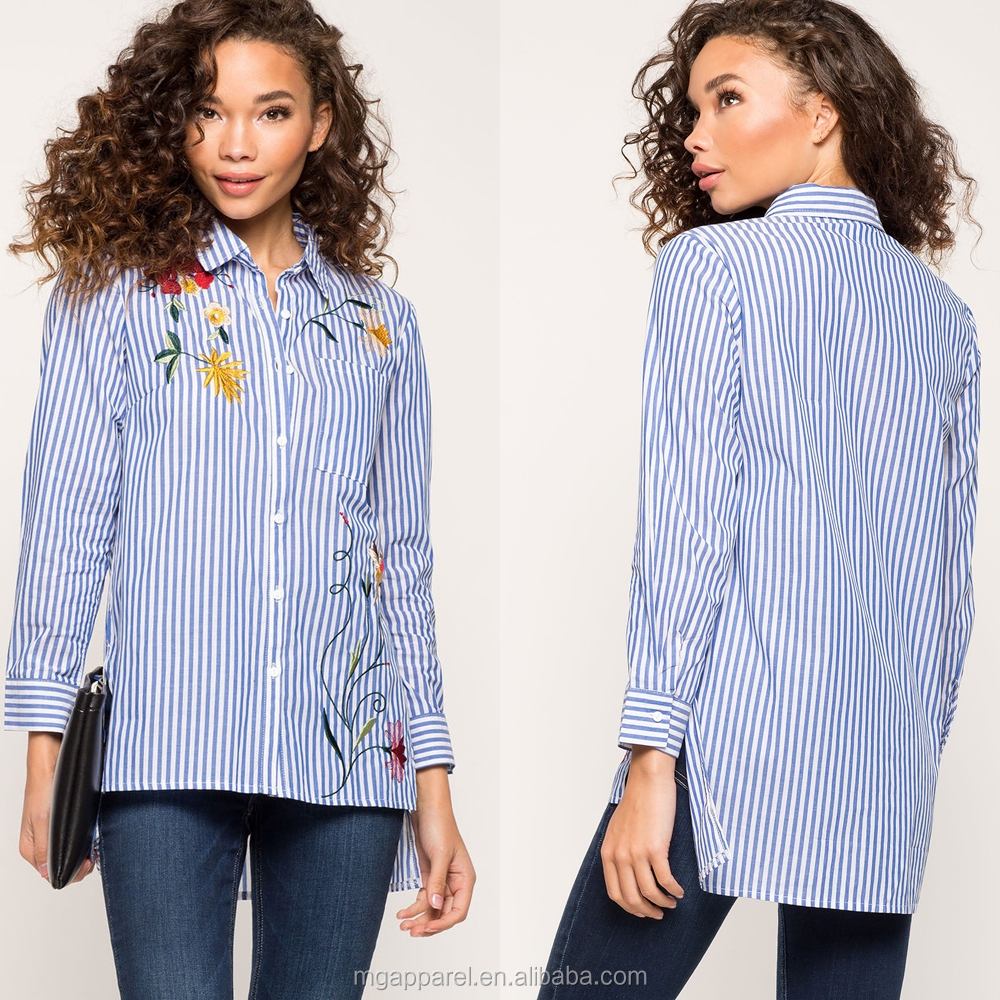 Summer new models blouses fashion stripe floral embroidered blouse