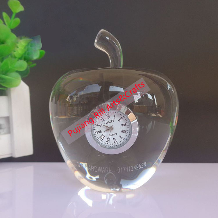 Crystal apple shape table clock with personalized sayings Christmas gift to family