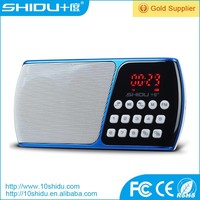 Portable FM radio with memory card and replaceable lithium ion battery for elders
