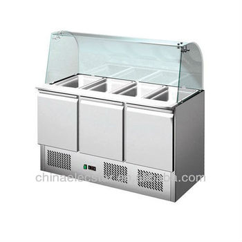refrigerated Saladettes for restaurant with curved glass cover
