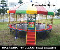 Amusement trampoline with roof for kids