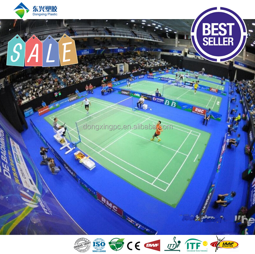 colorful and popular badminton court surface