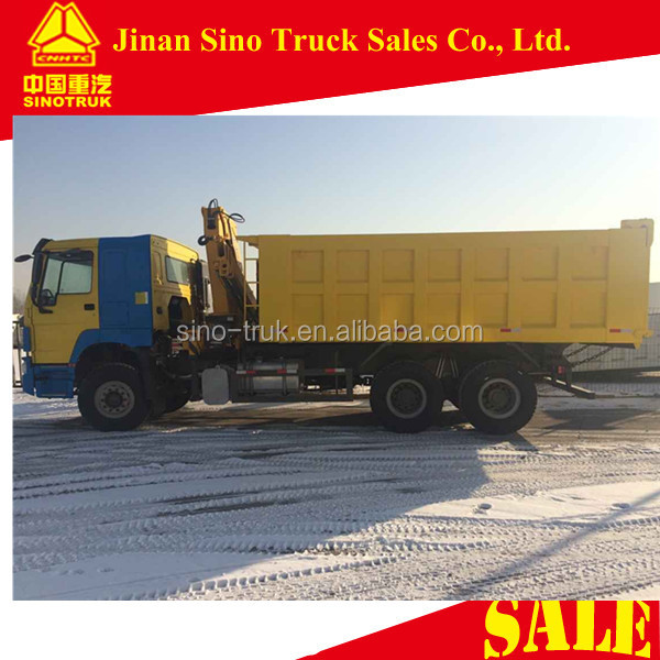 HOWO 10 wheels 25T dump truck mounted crane