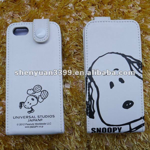 2013 trendy fashion cheap PU snoopy case for iphone 5