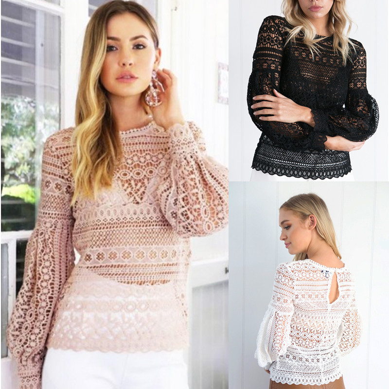 B32900A 2017 lady's LACE autumn blouses long sleeve t shirt for women casual WEAR