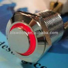 Aluminum 12mm 2A 36V Push Button switch With Red Led RING