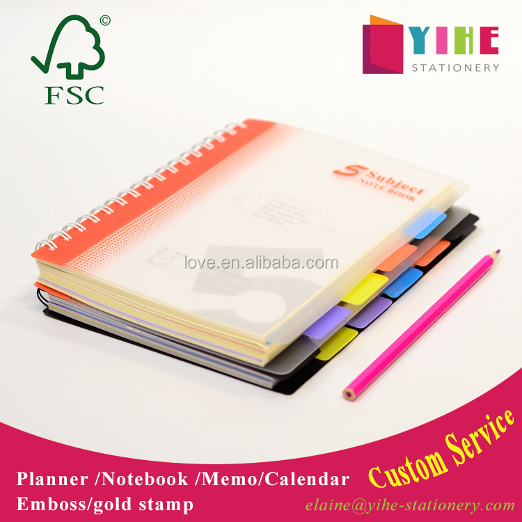 Transparent PVC cover spiral binding notebook cheap student exercise notebook custom diary notebook with index tab