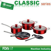 Aluminum Titanium Ceramic Cookware set with silicone rim glass lid