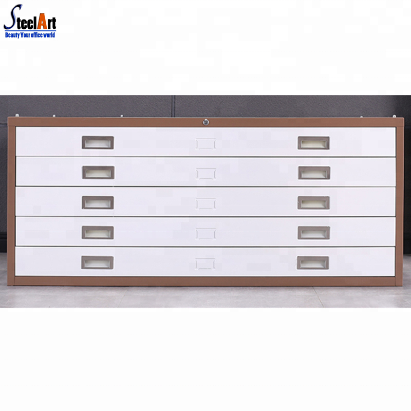 Large colorful lockable metal drawer map cabinet