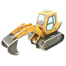3D paper kids toys custom printed foam puzzles engineered excavator model puzzle educational <strong>games</strong>