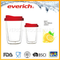 Double Wall Red Color Clean Glass Mug With Lid